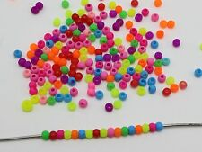 2000 Mixed Frost Neon Color Acrylic Round Beads 3mm Smooth ball Seed Beads