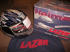 MOTORCYCLE HELMET FALCON HURRICANE LAZER LARGE (L) SILVER BLACK BLUE R25