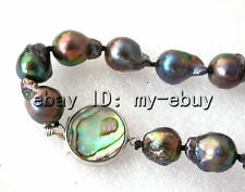 Black Rainbow Keshi Keishi Unusual Baroque Pearl Necklace Abalone Clasp 17""