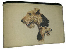 Airedale Terrier Padded Fabric Hemp Cotton Universal Storage Tablet Case Pouch