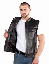 Concealed Carry Leather Outlaw MC Biker Vest