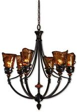 "29"" WROUGHT IRON Bronze Metal Chandelier HORCHOW Brown HANGING LIGHT Old World"