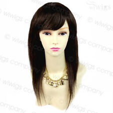 Wiwigs 100% Real Human Hair Brown Natural Long Straight/Short Wavy Ladies Wigs