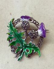 Vintage Jacobite Scottish Thistle Enamel And Marcasite Brooch Pin