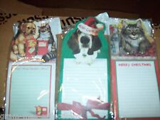 CHRISTMAS ANIMAL NOTE PAD & SHOPPING LIST 1 W/ KITTEN & 1 W/ DOG 1 W/ BOTH