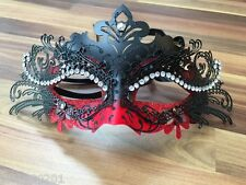 Venetian Masquerade Mask Filigree Black Red Metal Diamonte Ball Prom Halloween