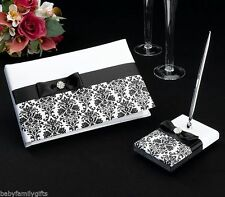 Lillian Rose Wedding Black & White Damask Guest Book and Pen Set GB735 BD