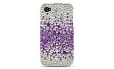 For Apple iPhone 4 4S Crystal Diamond BLING Hard Case Phone Cover Purple Splash