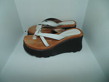 Womens 6 Candie's White Leather Platform Wooden Footbed Wedge Thong Sandals