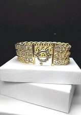 "7.25"" ITAOR Gold over Sterling Silver 925 ITALY 28mm Scroll Link Chain BRACELET"