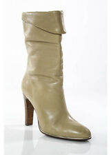 JEAN MICHAEL CAZABAT Tan Leather Almond Toe Pull On Mid Calf Boots Sz EUR 37