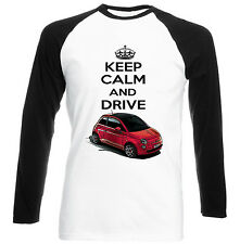 FIAT 500 2008 KEEP CALM AND DRIVE - NEW COTTON TSHIRT - ALL SIZES IN STOCK
