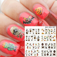 4pcs Nail Art  Halloween Theam Witches Water Decals Transfer Stickers Decoration