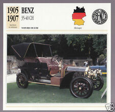 1905 1906 1907 Benz 35-40 hp Mercedes Car Photo Spec Sheet Info French Card