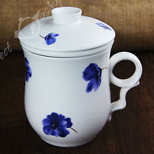 Blue Flowers Ceramic Chinese Porcelain Tea Mug Cup with lid Infuser Filter 270ml