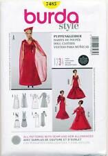 """BURDA SEWING PATTERN 7485 11½""""-12¼"""" BARBIE FASHION DOLL CLOTHES, FORMAL DRESSES"""