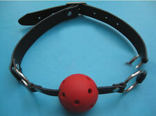 PU Leather Harness Breathable Mouth Gag with Red Ball Costume Bondage Restraints