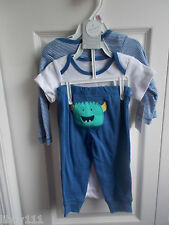 "Carter's Baby 3 Piece Layette Set ""Mommy's Little Monster"" Size 9 Months NWT"