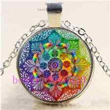 Live a colorful life Cabochon Glass Tibet Silver Chain Pendant Necklace