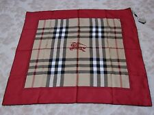 AUTHENTIC Burberry Horseferry Beige Check Red Silk Square Scarf #39781781