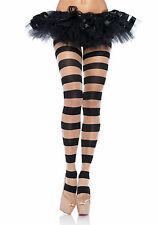 Leg Avenue 7917 Sheer And Opaque Striped Pantyhose (Black/Nude;One Size)