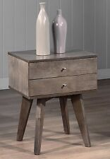 Bedside Night Stand Gray 2 Drawer Table Bedroom Storage Furniture Home Decor