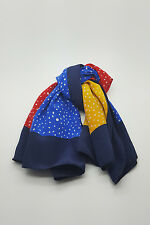 *GIVENCHY* VINTAGE RED YELLOW AND BLUE POLKA DOT SILK SCARF 30""