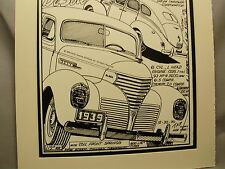 1939 De Soto Auto     Pen Ink Hand Drawn  Poster Automotive Museum Archives