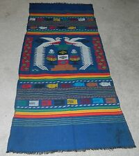 "Vintage Indian Woven Blanket 48"" x 22"" Fish Birds Trees"