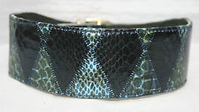 Lined Leather & Snakeskin Large Lurcher Dog Collar, holes fitted at 16-18.5""