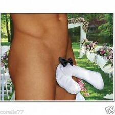 The Snuggly Fuzzy Men's White Wedding Tuggie Cock Sock UNDERWEAR Thong for Him