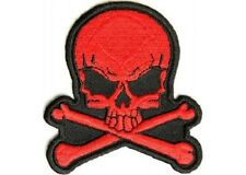 LOT OF 2 - RED SKULL EMBROIDERED IRON ON BIKER PATCH