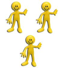 3 Count Yellow Bendable Smile Figure 3 Inches Tall
