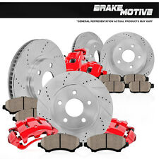 Front and Rear Red Brake Calipers & Rotors & Ceramic Pads AUDI A3 VW GTI JETTA