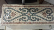 Kitchen Bathroom Travertine Border Mosaic Tile Pink, Blue/Grey Backsplash