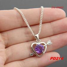 New   925 Silver Plated Purple CZ Heart Charms Pendant For Necklace