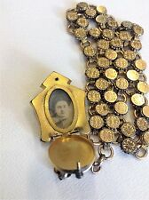 """Victorian Gold Filled Mourning Locket With19""""  Book Chain"""
