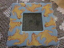 """Patrica DUPONT *CATS*Ceramic Desktop PICTURE FRAME*Outside 6.5"""" Sq~Pic 3""""Sq"""
