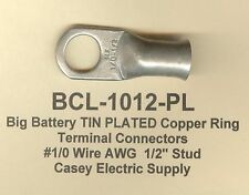 """5 TIN PLATED Copper Ring Lug Terminal Connector #1/0 Wire Gauge 1/2"""" Stud MOLEX"""