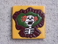 Day of the Dead Tile - Singing Catrina Skeleton Lady, Yellow - Mexico
