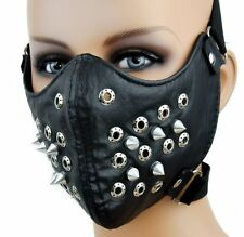 Steampunk Motorcycle Bicycle Ski Half Face Mask PU Leather Spike Rivets Sports