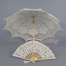 Ivory Cotton Battenburg Lace Wedding Bridal Umbrella Hand Fan Set  Sun Parasol