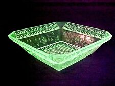 Vaseline Glass: Wild Flower Large Serving Master Berry Bowl,  Adams & Co. RARE!
