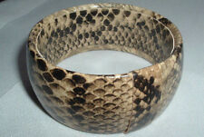 VINTAGE CREME BLACK FAUX SNAKE SKIN BANGLE BRACELET