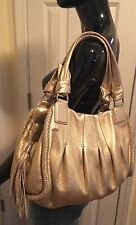 Cole Haan Large Gold Metallic Leather Tassled Hobo Purse