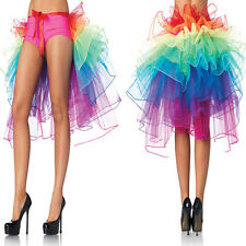 Women Girl Rainbow Neon Tutu Skirt Rave Party Dance Half Bustle Burlesque New