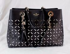Authentic Kate Spade Perforated Black Leather Tassel  Tote Shopper Handbag Purse