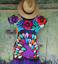 Hand Embroidered Huipil / Blouse Multi-Color Peacock Jalapa Mexico, Hippie, Boho