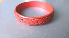 Fine Vintage Chinese Carved Cinnabar Dragon Design Bangle