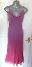 ❤ MONSOON Gorgeous Ladies Size 8 Two Tone Purple Shift Dress 100% Silk Lined